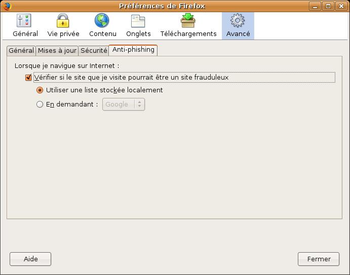 l'anti phishing de Firefox