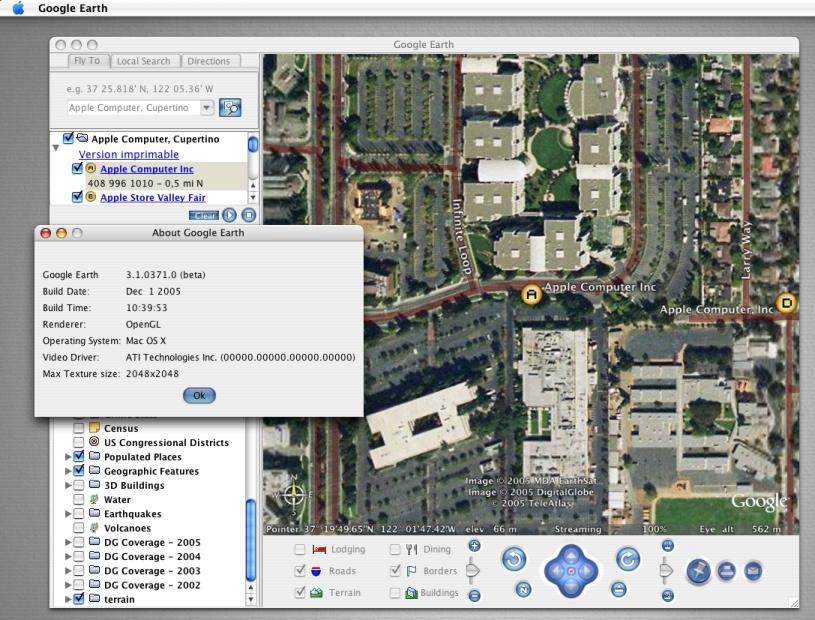 Apple Computer dans Google Earth pour MacOS-X