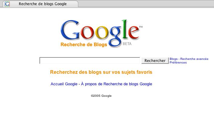 Google recherche dans les blogs