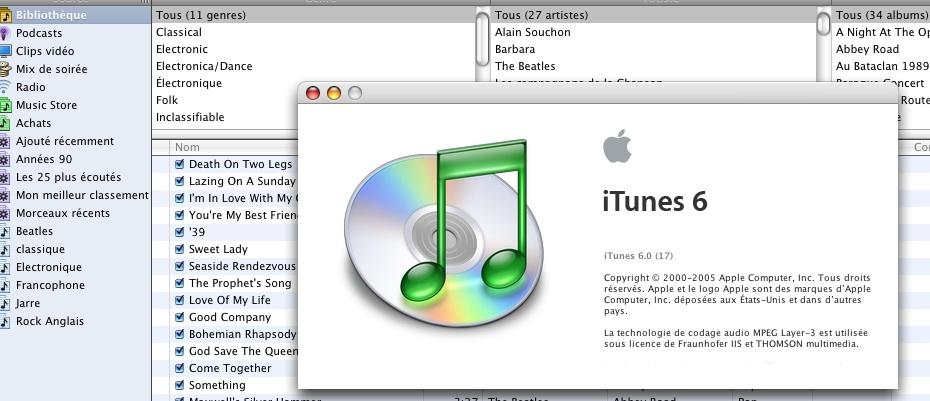 itunes 6 sous MacOS-X