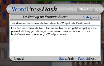 Wordpress dans le DashBoard