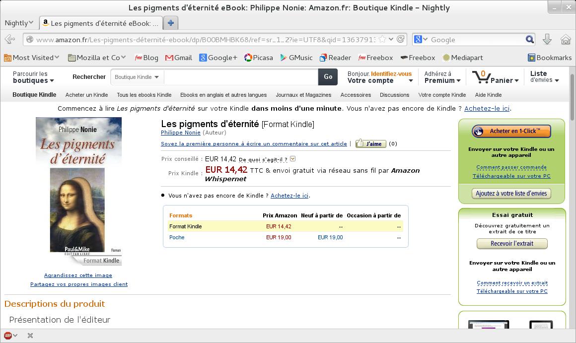 Amazon - Bouquin de Philippe Nonie