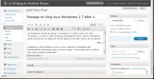 L'interface de saisie des billets dans WordPress 2.7 bêta 3