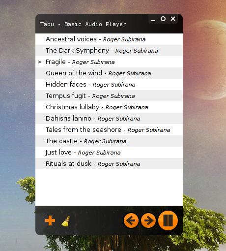 Tabu Audio Player 1.4.1 sous Archlinux
