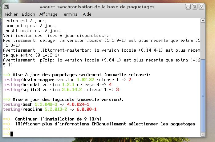 GNU Bash 4.0 dans testing d'ArchLinux